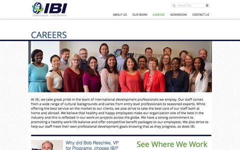 Screenshot of Jobs Page ibi-usa.com - Careers - captured Nov. 16, 2016