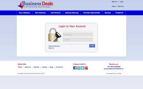 Screenshot of Login Page businessdeals.in - Consultancy for Business Start-ups & executing new Business ideas is our businesses - captured Sept. 23, 2014