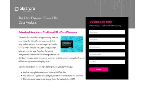 Screenshot of Landing Page platfora.com - eBook: Behavioral Analytics with Big Data Discovery - captured June 24, 2016