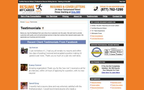 Screenshot of Testimonials Page resumemycareer.com - Testimonials : Resume My Career - captured Oct. 9, 2014