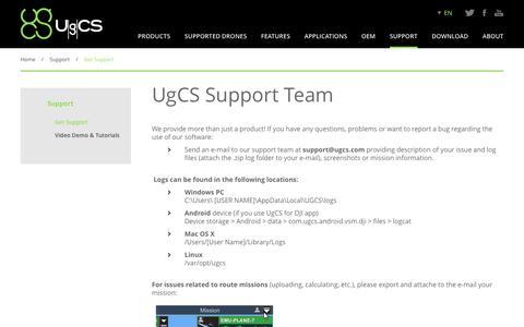 Screenshot of Support Page ugcs.com - UgCS Customer Service | Support - captured Nov. 18, 2016