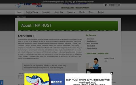 Screenshot of About Page tnphost.com - About TNP HOST - Web Hosting Company in Lucknow | Delhi | Mumbai - TNP HOST ® - captured Sept. 25, 2014