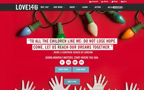 Screenshot of Home Page love146.org - Love146 | The Abolition of Child Trafficking & Exploitation. - captured Dec. 9, 2015