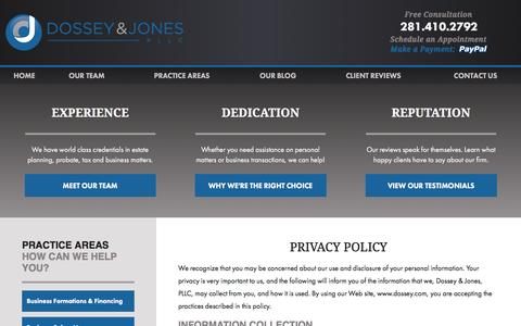 Screenshot of Privacy Page dossey.com - Privacy Policy | Montgomery County Lawyer - captured Feb. 9, 2016