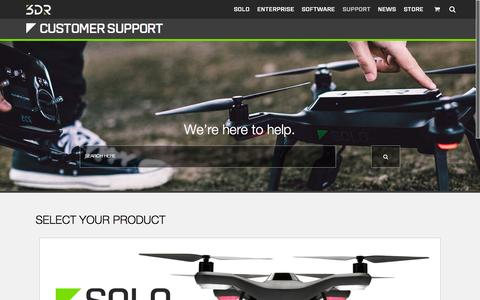 Screenshot of Support Page 3drobotics.com - Support - captured Nov. 5, 2015