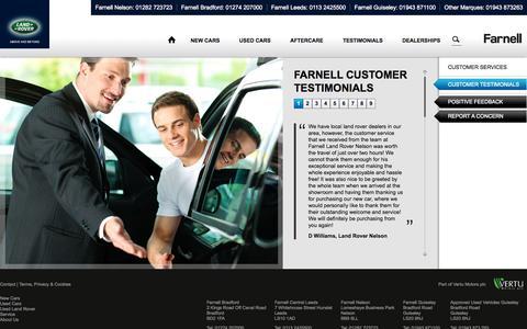 Screenshot of Testimonials Page farnelllandrover.com - Customer Testimonials   | Farnell Land Rover - captured Oct. 2, 2014