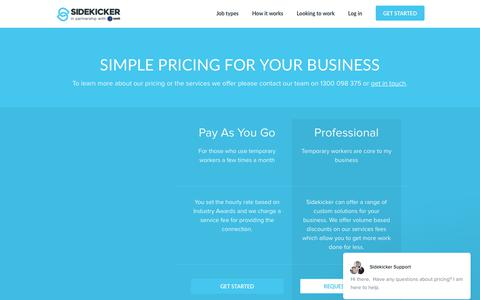 Screenshot of Pricing Page sidekicker.com.au - Sidekicker Support says… - captured Oct. 4, 2017