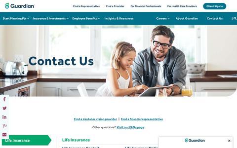Screenshot of Contact Page guardianlife.com - Contact Us   Guardian - captured Aug. 22, 2019