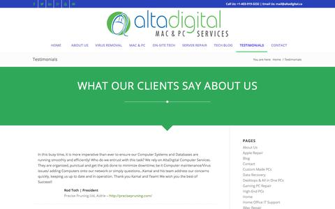Screenshot of Testimonials Page altadigital.ca - Testimonials | Altadigital - captured Oct. 8, 2017