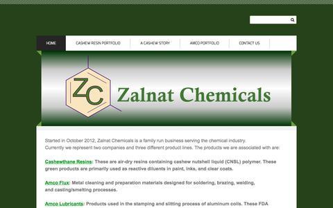 Screenshot of Home Page zalnat.com - Zalnat Chemicals - Home - captured Dec. 11, 2016