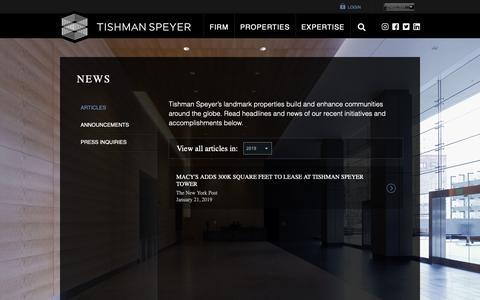 Screenshot of Press Page tishmanspeyer.com - Real Estate News | Tishman Speyer - captured May 29, 2019