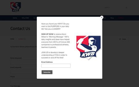 Screenshot of Contact Page kwbaseball.com - Contact Us - Kevin Wilson Baseball, LLC - captured Nov. 15, 2018