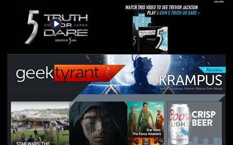 Screenshot of Home Page geektyrant.com - GeekTyrant – Geek Movie and Entertainment News - captured Dec. 6, 2015