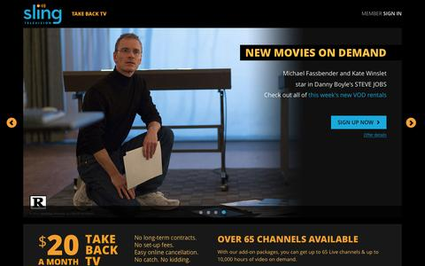 Screenshot of Home Page sling.com - Sling TV - Watch Live TV Programming Any Time and Anywhere - captured Feb. 20, 2016