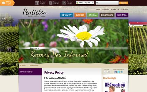 Screenshot of Privacy Page penticton.ca - Privacy Policy   City of Penticton - captured Sept. 19, 2014