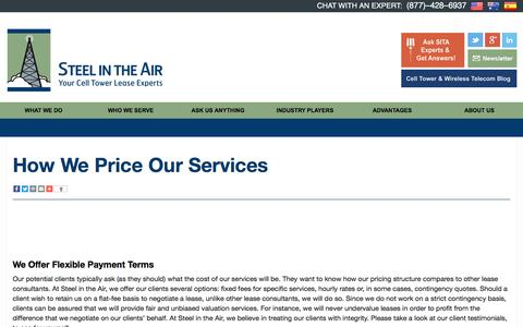 Screenshot of Pricing Page steelintheair.com - See how SITA compares to other Tower Lease Consultants - captured Dec. 2, 2016
