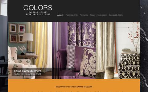 Screenshot of Home Page peintures-tissus-colors.com - • • • COLORS CANNES : Magasin de peinture, tissus et papier peint à Cannes - Le Cannet 06 - captured March 16, 2016