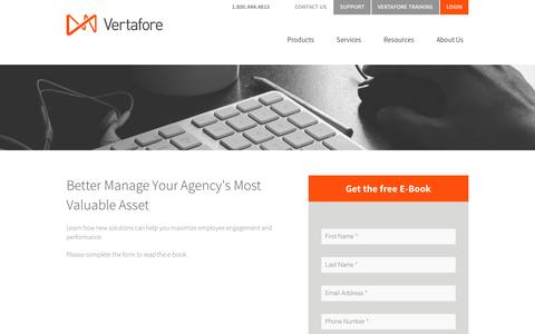 Screenshot of Landing Page vertafore.com - Vertafore Employee Management EBook - captured Aug. 20, 2016
