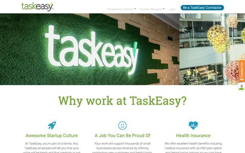 Screenshot of Jobs Page taskeasy.com - Interested in working for TaskEasy? Take the first step today! - captured Oct. 19, 2018