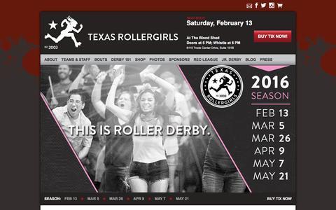 Screenshot of Home Page texasrollergirls.org - Austin Texas Roller Derby | Texas Rollergirls - captured Feb. 6, 2016