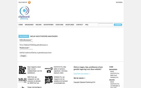Screenshot of Login Page clipboard-publishing.nl - Gebruikersaccount | Clipboard Publishing - captured Sept. 30, 2014