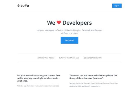 Screenshot of Developers Page bufferapp.com - Buffer - Developers - captured Sept. 13, 2014