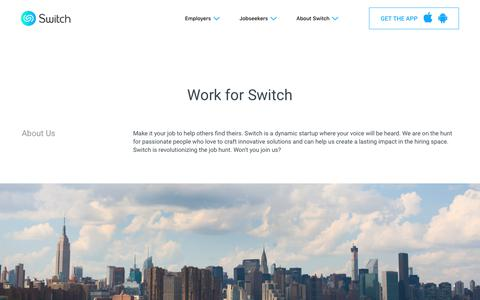 Screenshot of Jobs Page switchapp.com - Careers at Switch | Switchapp.com - captured Sept. 7, 2017