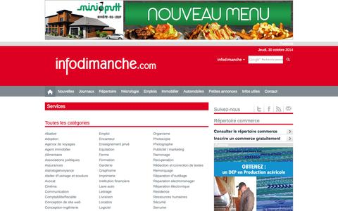 Screenshot of Services Page infodimanche.com - Services | infodimanche.com - captured Oct. 30, 2014