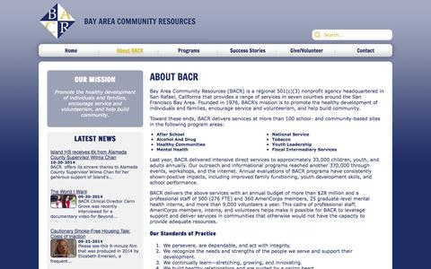 Screenshot of About Page bacr.org - About BACR - captured Nov. 3, 2014