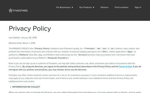 Privacy Policy - Fivestars