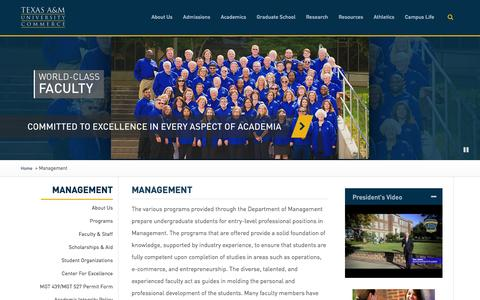 Screenshot of Team Page tamuc.edu - Management - Texas A&M University-Commerce - captured Feb. 14, 2016