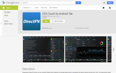 Screenshot of Android App Page google.com - DFN Touch for Android Tab - Android Apps on Google Play - captured Oct. 23, 2014