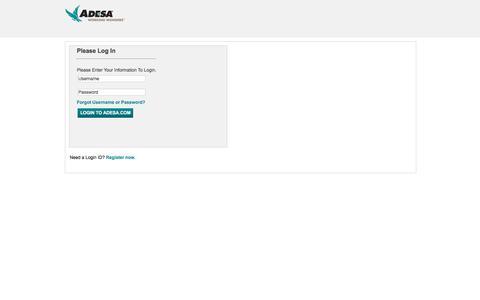 Screenshot of Login Page adesa.com - ADESA - Login - captured Sept. 21, 2019