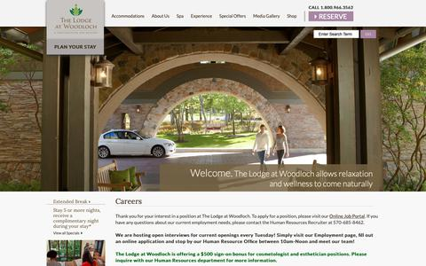 Screenshot of Jobs Page thelodgeatwoodloch.com - Start Your Career at The Lodge at Woodloch - captured Sept. 30, 2018