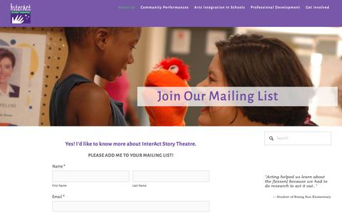 Screenshot of Signup Page interactstory.com - Join Our Mailing List — InterAct Story Theatre - captured Oct. 15, 2017