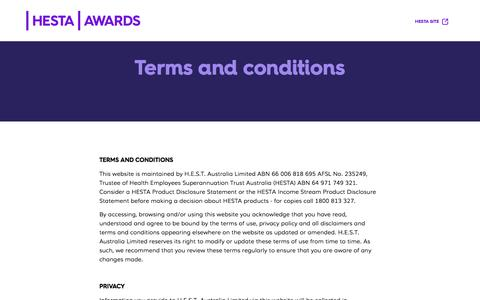 Screenshot of Terms Page hesta.com.au - Terms & Conditions - captured Feb. 21, 2017