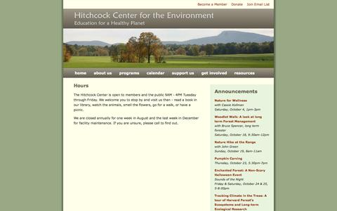 Screenshot of Hours Page hitchcockcenter.org - Hours | Hitchcock Center - Main - captured Oct. 2, 2014