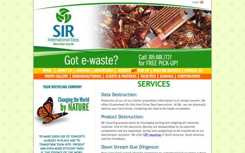 Screenshot of Services Page sirinternational.com - North America CRT Recycling | E-waste | Environment Management - captured Oct. 3, 2014