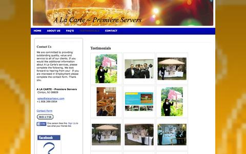 Screenshot of Testimonials Page alacartesvc.com - A LA CARTE - Premiere Servers - Testimonials - captured Jan. 26, 2016