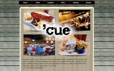 Screenshot of Home Page cuebarbecue.com - Cue Barbecue - captured Oct. 7, 2014