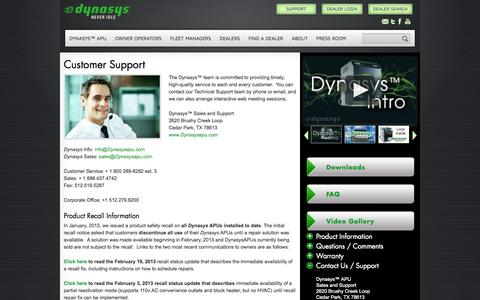 Screenshot of Support Page dynasysapu.com - Customer Support | Dynasys™ Auxiliary Power - captured Oct. 2, 2014