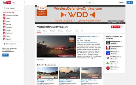 Screenshot of YouTube Page youtube.com - WirelessDefensiveDriving.com  - YouTube - captured Nov. 4, 2014