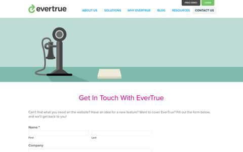 Screenshot of FAQ Page evertrue.com - Contact Us | EverTrue - captured Sept. 16, 2014