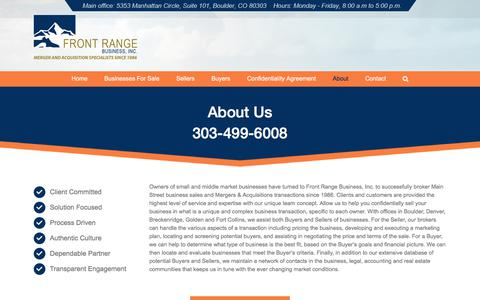 Screenshot of About Page frontrangebusiness.com - About FRB - Selling Businesses In Colorado | Front Range Business, Inc. - captured Sept. 24, 2018