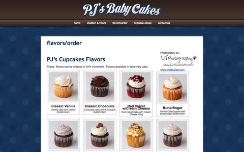 Screenshot of Menu Page pjsbabycakes.com - PJ's Baby Cakes   » flavors/order - captured Sept. 26, 2014