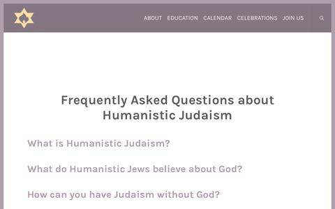 Screenshot of FAQ Page citycongregation.org - Humanistic Judaism FAQ | The City Congregation for Humanistic Judaism - captured Oct. 22, 2017