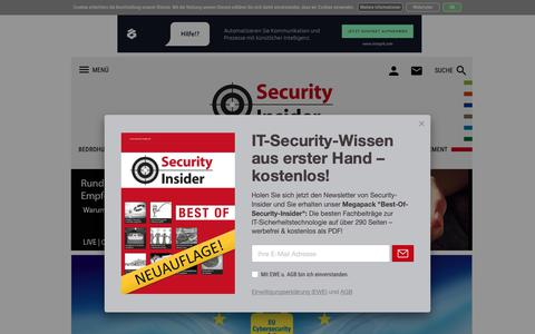 Screenshot of Home Page security-insider.de - Security-Insider: IT-Security, Trojaner, Firewall, Antivirus, Netzwerksicherheit - captured Nov. 7, 2018