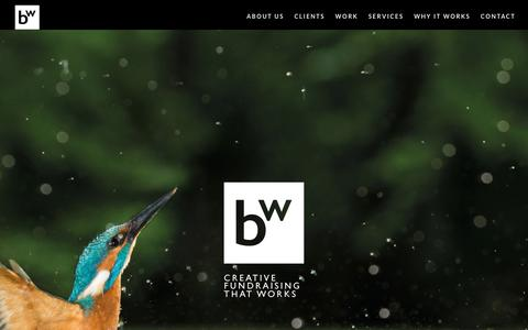 Screenshot of Home Page burnettworks.co.uk - Charity fundraising agency. Our work really works - Burnett Works - captured Aug. 4, 2018