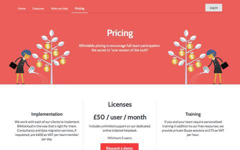 Screenshot of Pricing Page bibliocloud.com - Pricing   Bibliocloud - captured Oct. 10, 2017