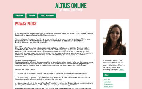 Screenshot of Privacy Page altiusonline.com - Privacy Policy | Altius Online - captured Oct. 8, 2017
